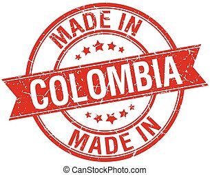 made in Colombia red round vintage stamp