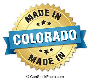 made in Colorado gold badge with blue ribbon