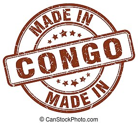 made in Congo brown grunge round stamp