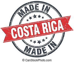 made in Costa Rica red round vintage stamp