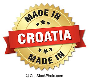 made in Croatia gold badge with red ribbon