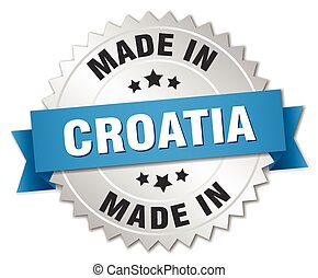 made in Croatia silver badge with blue ribbon