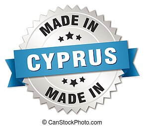 made in Cyprus silver badge with blue ribbon