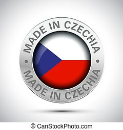 made in Czechia flag metal icon