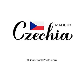 Made in Czechia handwritten label. Quality mark vector icon. Calligraphy hand lettering. Perfect for logo design, tags, badges, stickers, emblem, product package, etc.