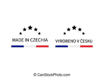 Made in Czechia labels in English and in Czech languages. Quality mark vector icon. Perfect for logo design, tags, badges, stickers, emblem, product package, etc.