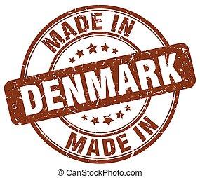 made in Denmark brown grunge round stamp