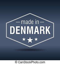 made in Denmark hexagonal white vintage label