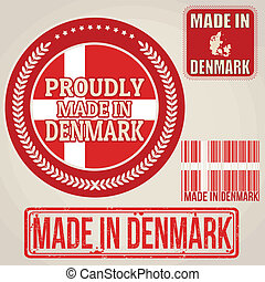 Made in Denmark set of stamps and labels