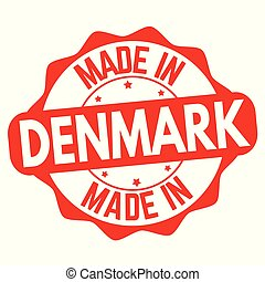 Made in Denmark sign or stamp on white background, vector...