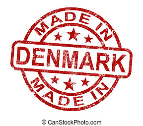 Made In Denmark Stamp Shows Danish Product Or Produce