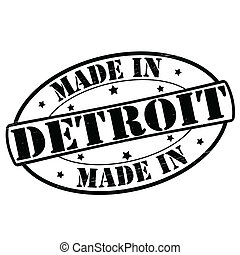 Made in Detroit - Stamp with text made in Detroit inside,...