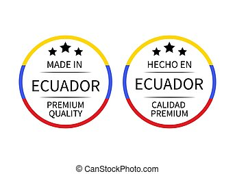 Made in Ecuador round labels (in English and in Spanish languages). Quality mark vector icon. Perfect for logo design, tags, badges, stickers, emblem, product packaging, etc.