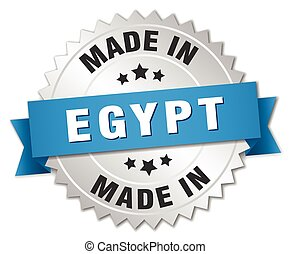made in Egypt silver badge with blue ribbon