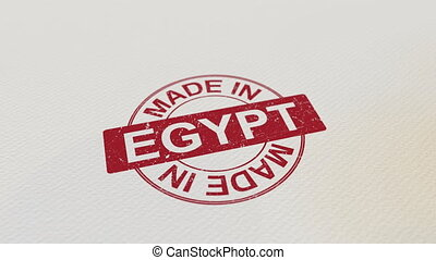 MADE IN EGYPT wooden stamp conceptual animation. Alpha matte...