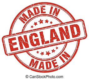 made in England red grunge round stamp