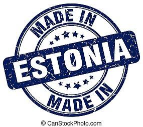 made in Estonia blue grunge round stamp