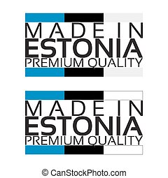 Made in Estonia icon, premium quality sticker with Estonian colors, vector illustration isolated on white background