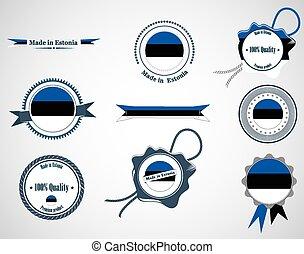 Made in Estonia - set of seals, badges.