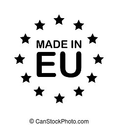 MADE IN EU black text and stars. Europe product sign vector illustration isolated on white background