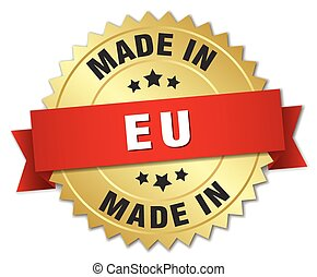 made in eu gold badge with red ribbon
