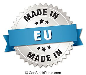 made in eu silver badge with blue ribbon