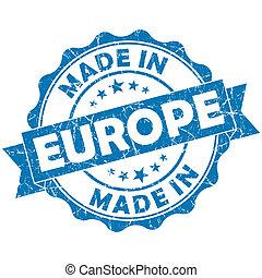 made in Europe blue grunge seal