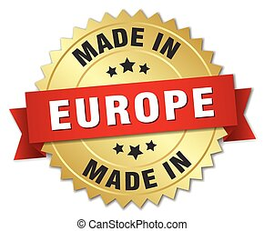made in europe gold badge with red ribbon