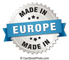 made in europe silver badge with blue ribbon
