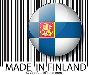 Made in Finland barcode. Vector illustration