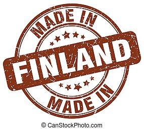 made in Finland brown grunge round stamp