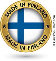 Made in Finland gold label with flag, vector illustration