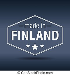 made in Finland hexagonal white vintage label