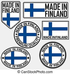 Made in Finland label set with flag, made in Finland, vector illustration