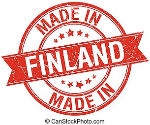 made in Finland red round vintage stamp