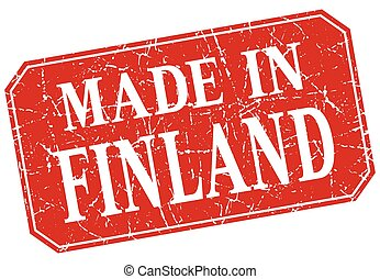made in Finland red square grunge stamp