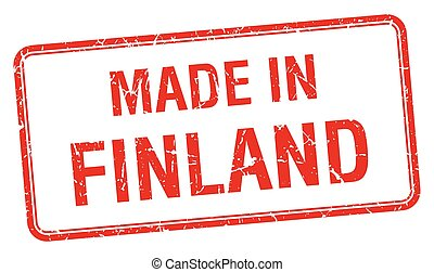 made in Finland red square isolated stamp