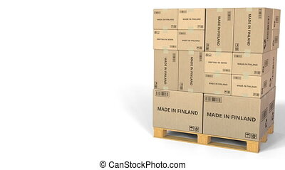 MADE IN FINLAND text on boxes on a pallet. Conceptual 3D...