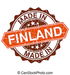 Made in Finland vintage stamp isolated on white background