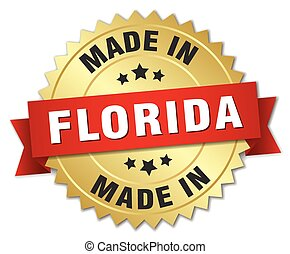 made in Florida gold badge with red ribbon