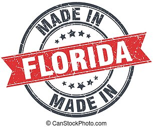 made in Florida red round vintage stamp