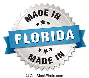 made in Florida silver badge with blue ribbon