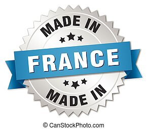 made in France silver badge with blue ribbon