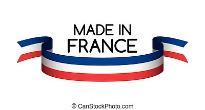 Made in France symbol, colored ribbon with the French tricolor