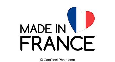 Made in France symbol with heart in the colors of the French tricolor