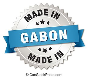 made in Gabon silver badge with blue ribbon