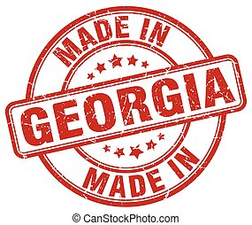 made in Georgia red grunge round stamp
