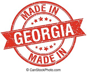 made in Georgia red round vintage stamp