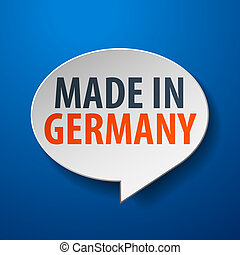 Made in Germany 3d Speech Bubble on blue background