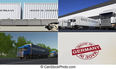 Made in Germany. Export or import conceptual montage...